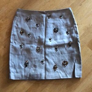 Ann Taylor jeweled linen skirt 00P